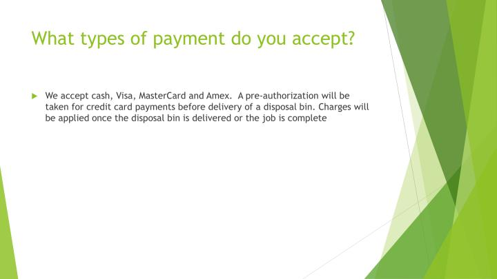 What types of payment do you accept?