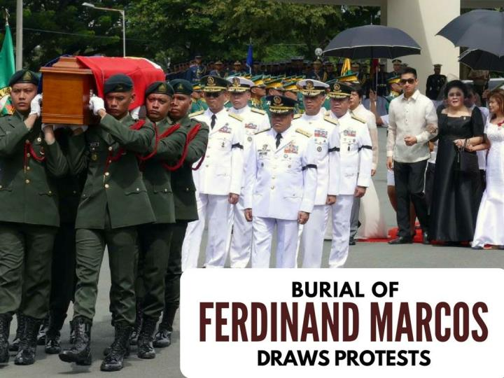 internment of ferdinand marcos draws protests n.