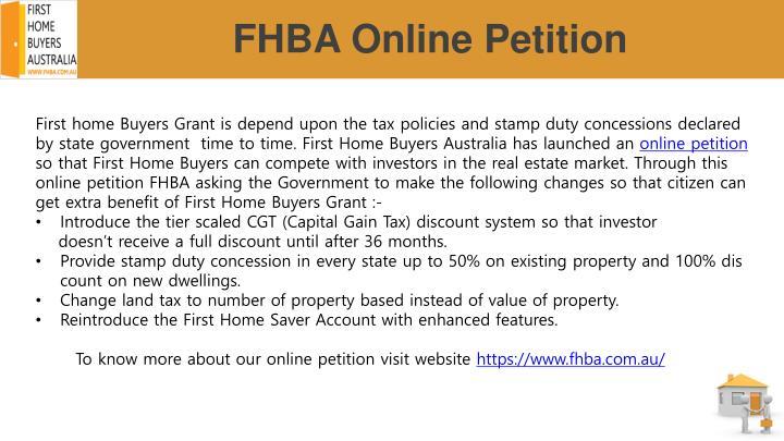 Fhba online petition