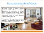 luxury apartment rentals rome