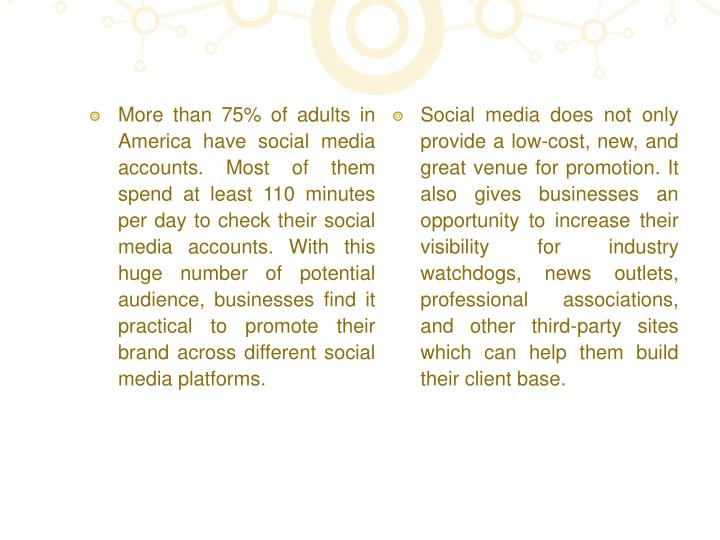 More than 75% of adults in America have social media accounts. Most of them spend at least 110 minutes per day to check their social media accounts. With this huge number of potential audience, businesses find it practical to promote their brand across different social media platforms.