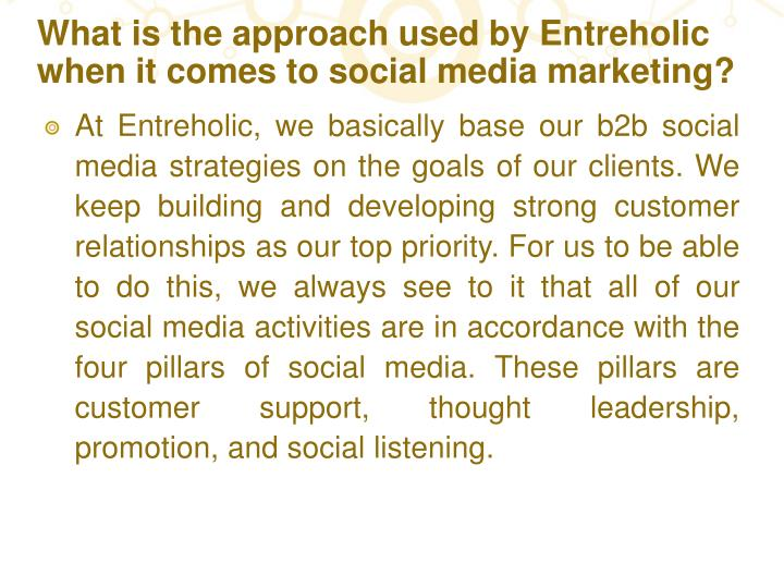 What is the approach used by Entreholic when it comes to social media marketing?