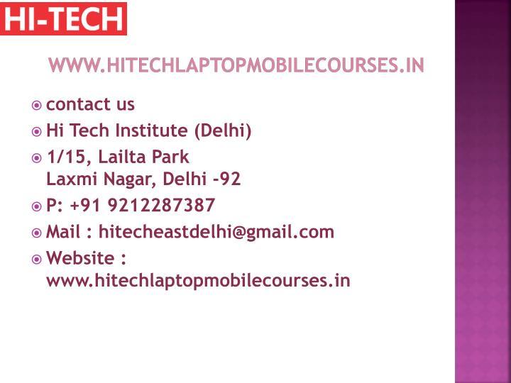 www.hitechlaptopmobilecourses.in