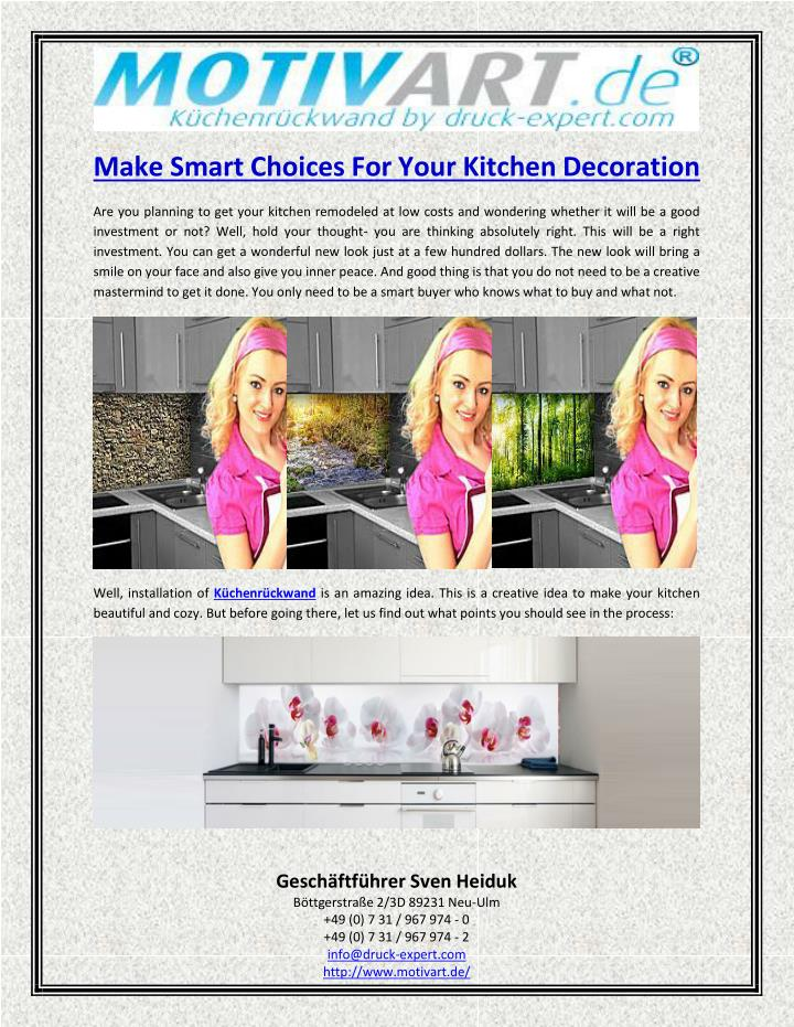 Make Smart Choices For Your Kitchen Decoration