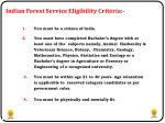 indian forest service eligibility criteria