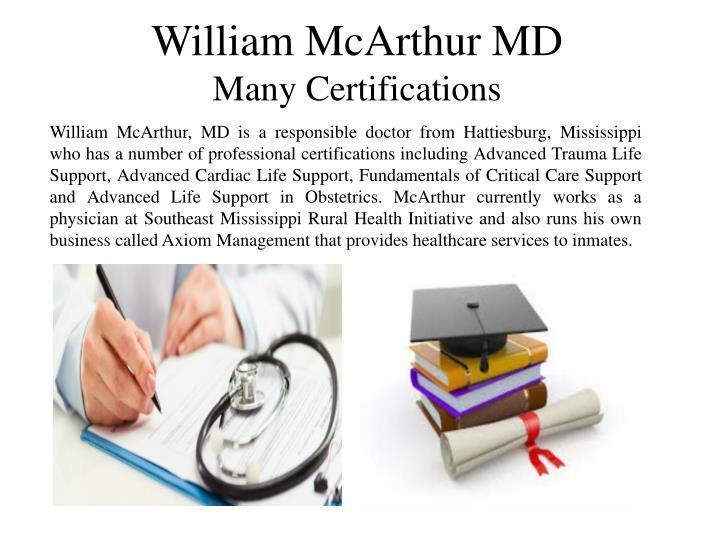 William McArthur MD