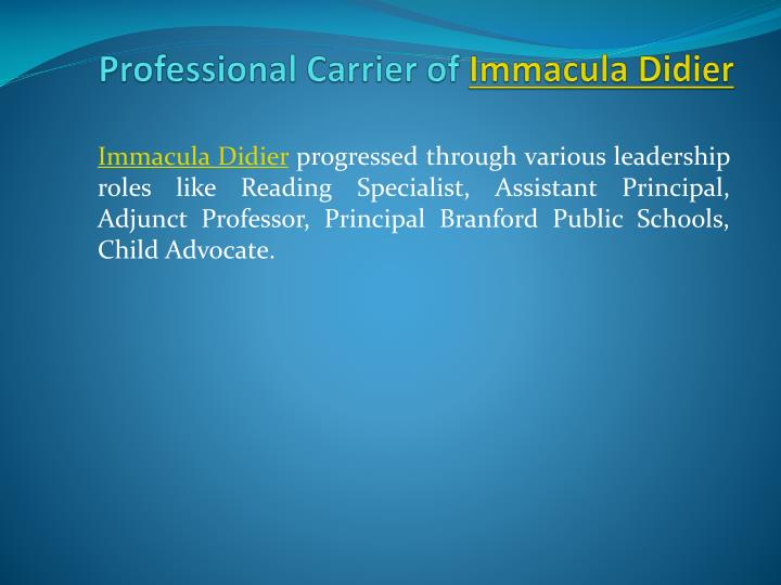 Professional carrier of immacula didier