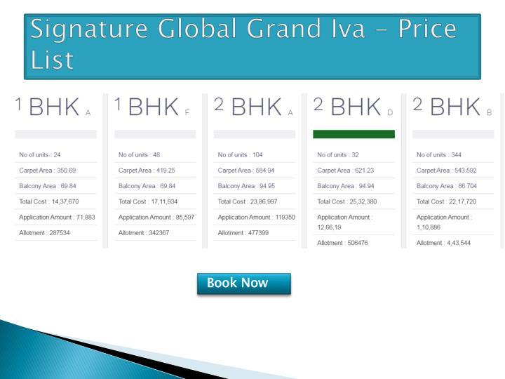 Signature global grand iva price list