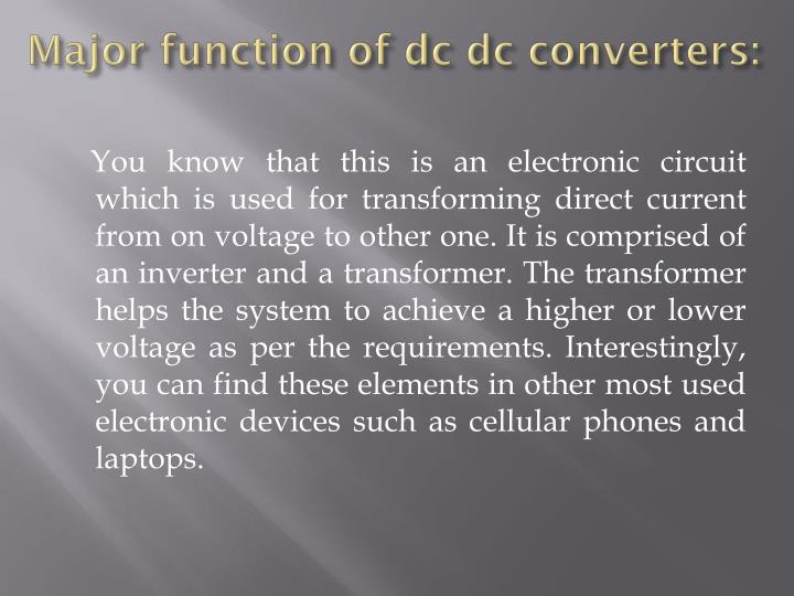 Major function of dc dc converters