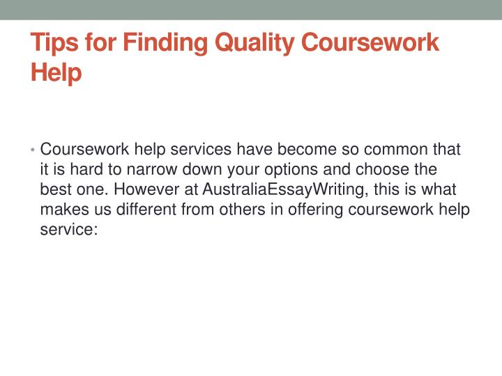 Tips for Finding Quality Coursework