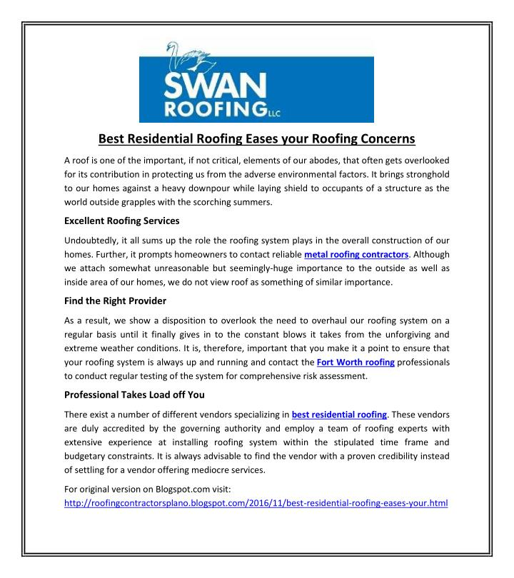Best Residential Roofing Eases your Roofing Concerns