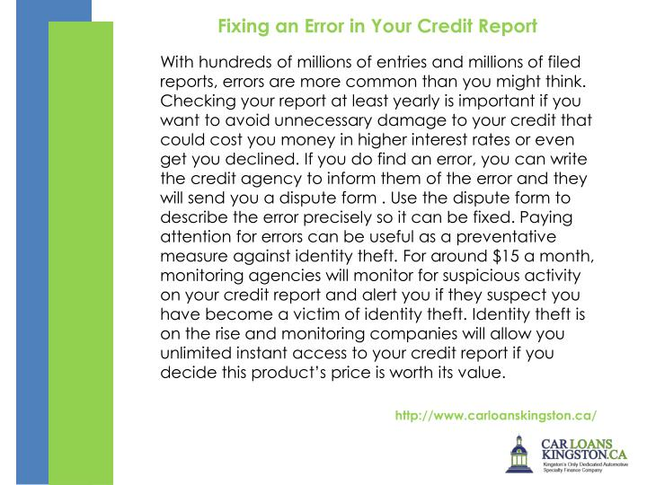 Fixing an Error in Your Credit Report