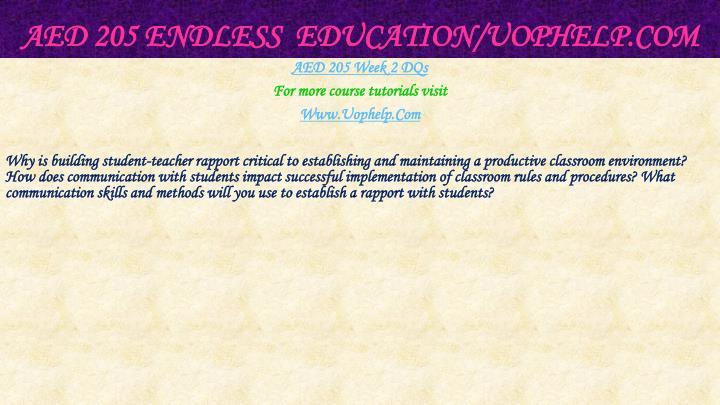 AED 205 Endless  Education/
