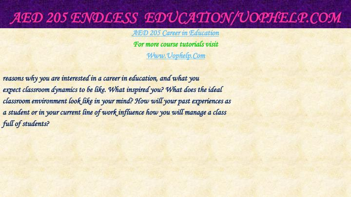 Aed 205 endless education uophelp com2