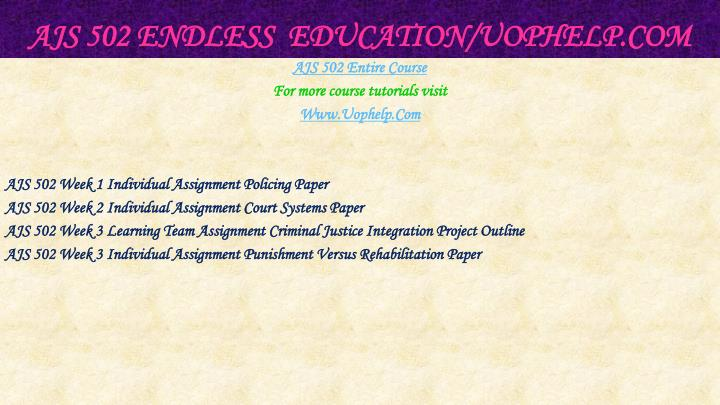 Ajs 502 endless education uophelp com1