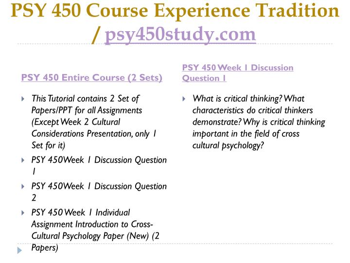 Psy 450 course experience tradition psy450study com1