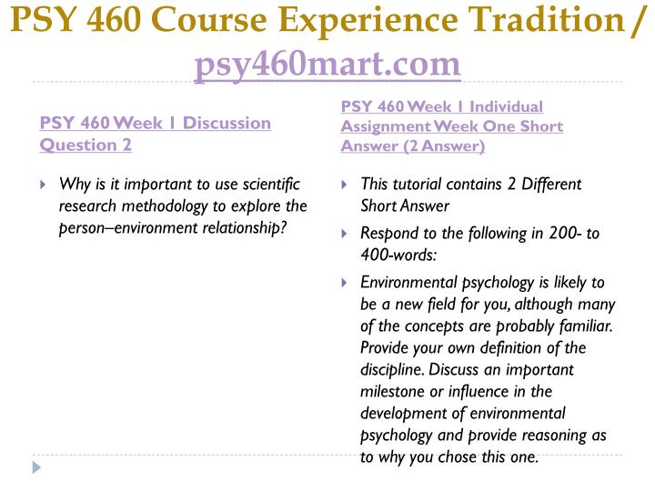 Psy 460 course experience tradition psy460mart com2