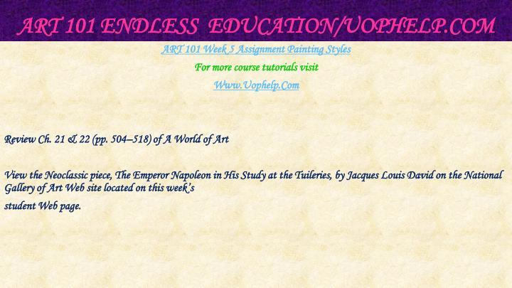 ART 101 Endless  Education/