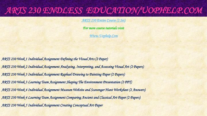 Arts 230 endless education uophelp com1
