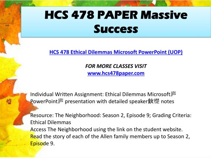 HCS 478 PAPER Massive Success