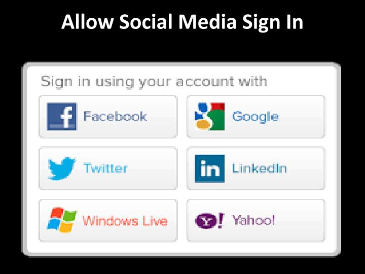 Allow social media sign in