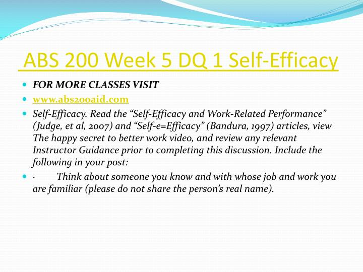 ABS 200 Week 5 DQ 1 Self-Efficacy