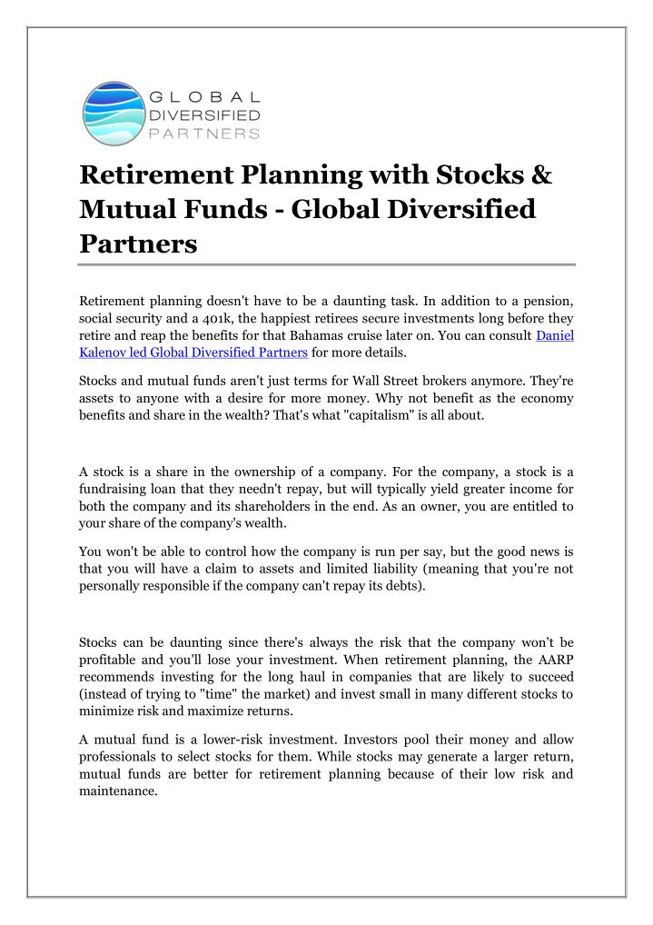 Retirement Planning with Stocks &