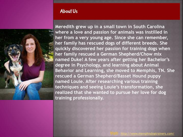 Meredith grew up in a small town in South Carolina where a love and passion for animals was instilled in her from a very young age. Since she can remember, her family has rescued dogs of different breeds. She quickly discovered her passion for training dogs when her family rescued a German Shepherd/Chow mix named Duke! A few years after getting her Bachelor's degree in Psychology, and learning about Animal Behavior and Learning, she moved to Memphis, TN. She rescued a German Shepherd/Basset Hound puppy named Louie. After researching various training techniques and seeing Louie's transformation, she realized that she wanted to pursue her love for dog training professionally.
