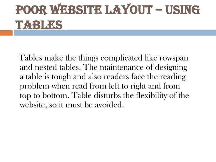 Poor website layout using tables