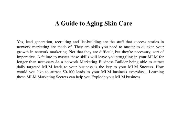A Guide to Aging Skin Care