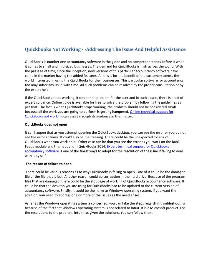 Quickbooks Not Working - -Addressing The Issue And Helpful Assistance