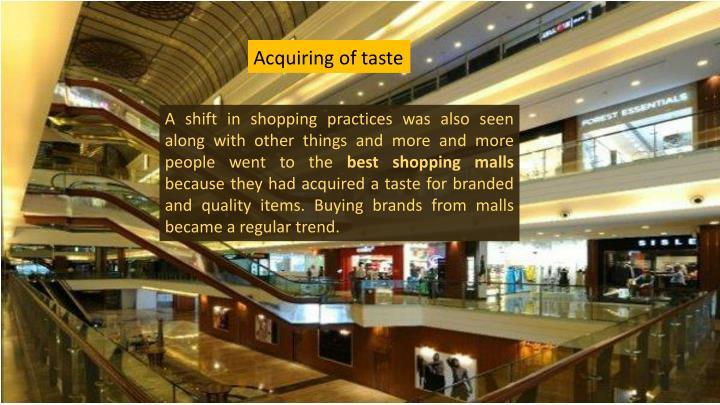 Acquiring of taste