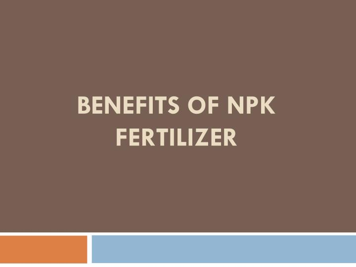 benefits of npk fertilizer n.
