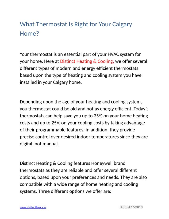 What Thermostat Is Right for Your Calgary
