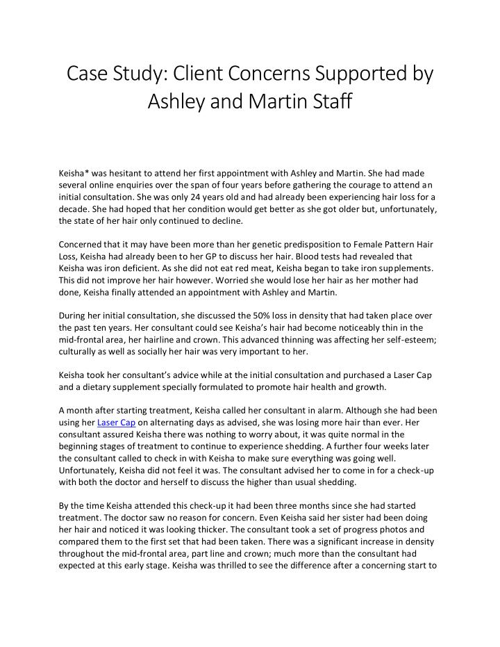 Case Study: Client Concerns Supported by