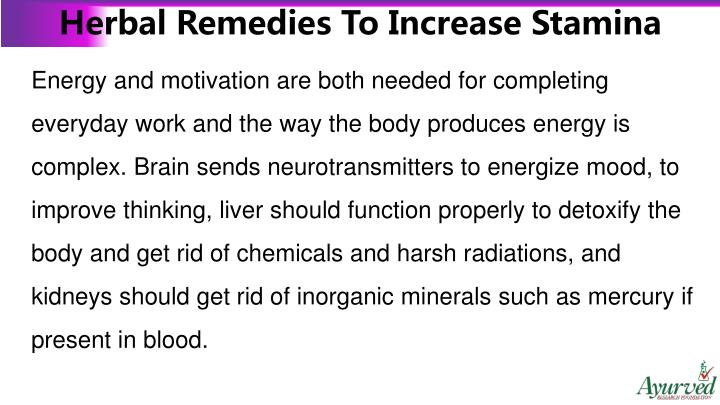 Herbal Remedies To Increase Stamina