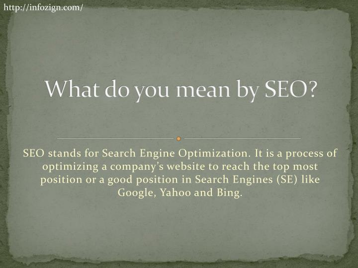What do you mean by seo