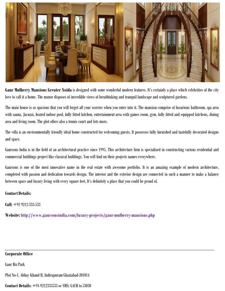 Gaur Mulberry Mansions Greater Noida