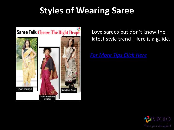 Styles of wearing saree