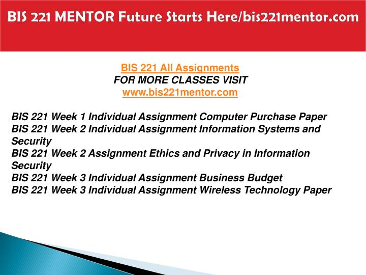 Bis 221 mentor future starts here bis221mentor com1