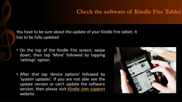 Check the software of Kindle Fire Tablet