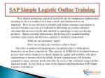sap simple logistic online training2
