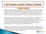 sap simple logistic online training3