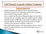 sap simple logistic online training4