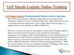 sap simple logistic online training5
