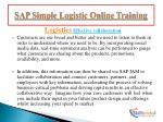 sap simple logistic online training6