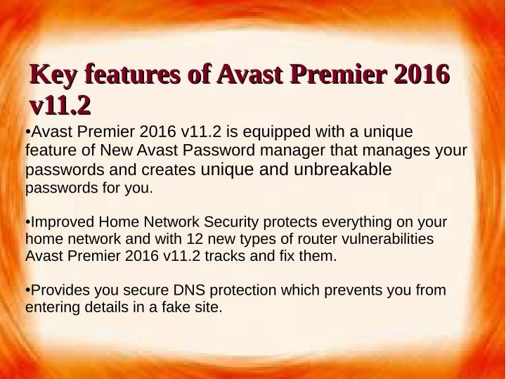 Key features of Avast Premier 2016