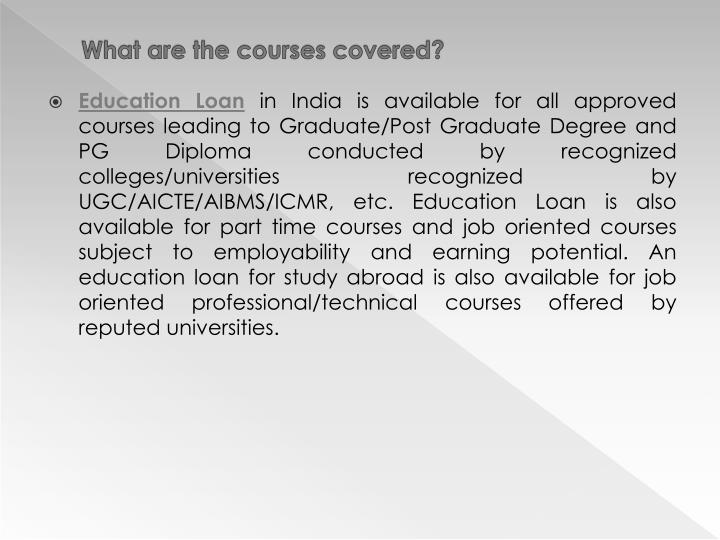 What are the courses covered?