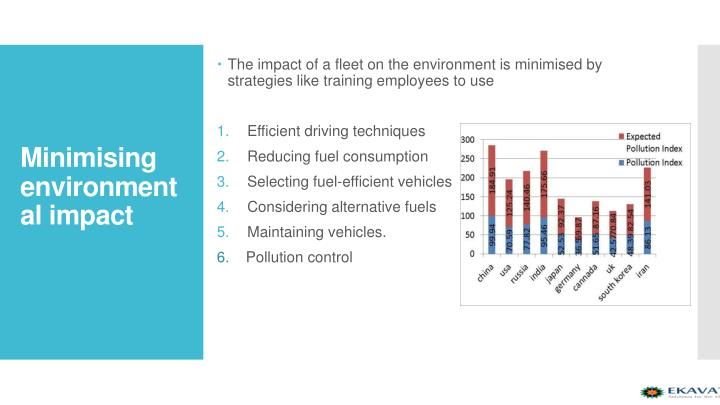 The impact of a fleet on the environment is minimised by strategies like training employees to use