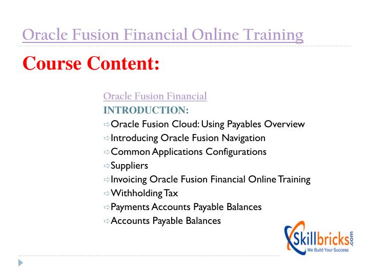 Oracle Fusion Financial Online